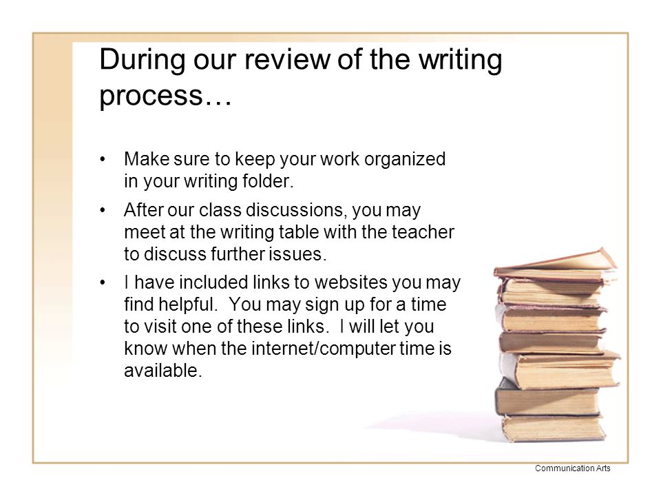 Communication Arts Revising Improve your writing… –Are my details clear.