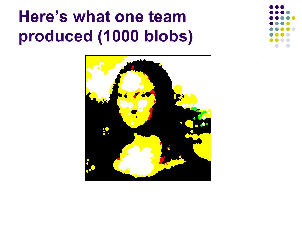 Here's what one team produced (1000 blobs)