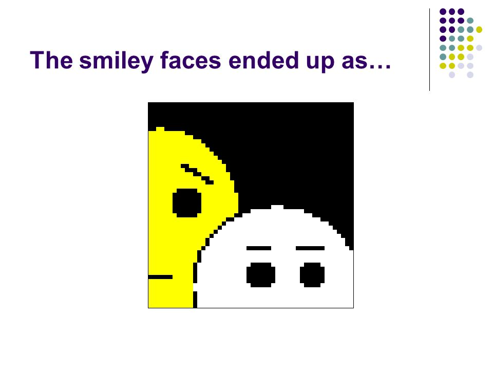 The smiley faces ended up as…