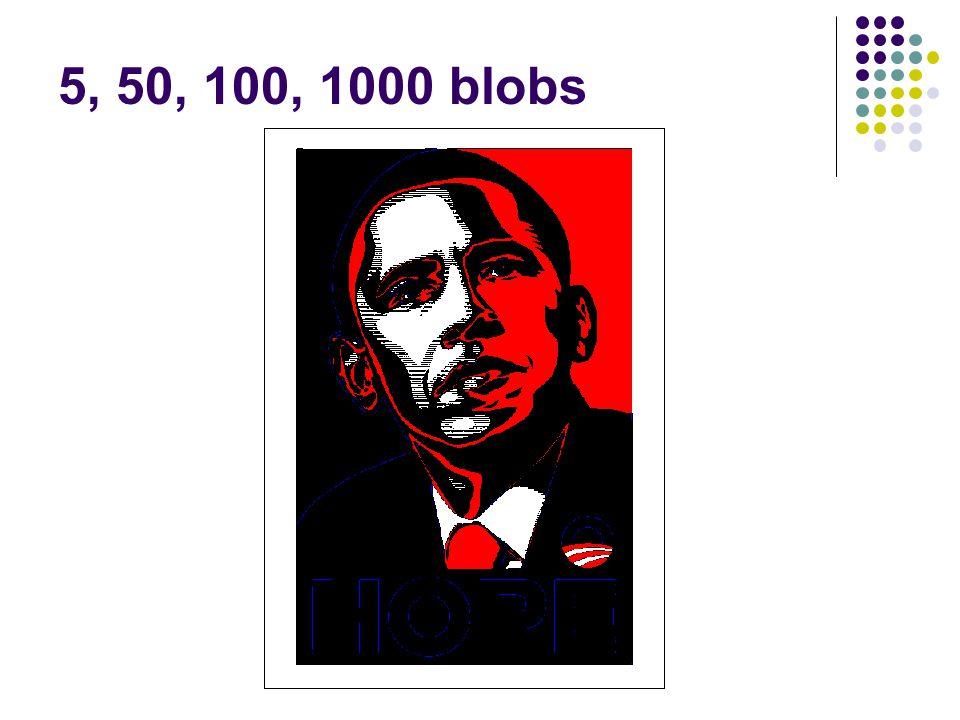 5, 50, 100, 1000 blobs