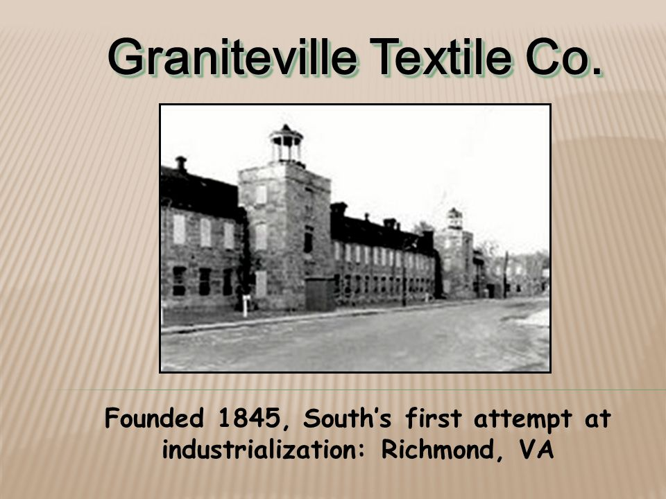Graniteville Textile Co. Founded 1845, South's first attempt at industrialization: Richmond, VA