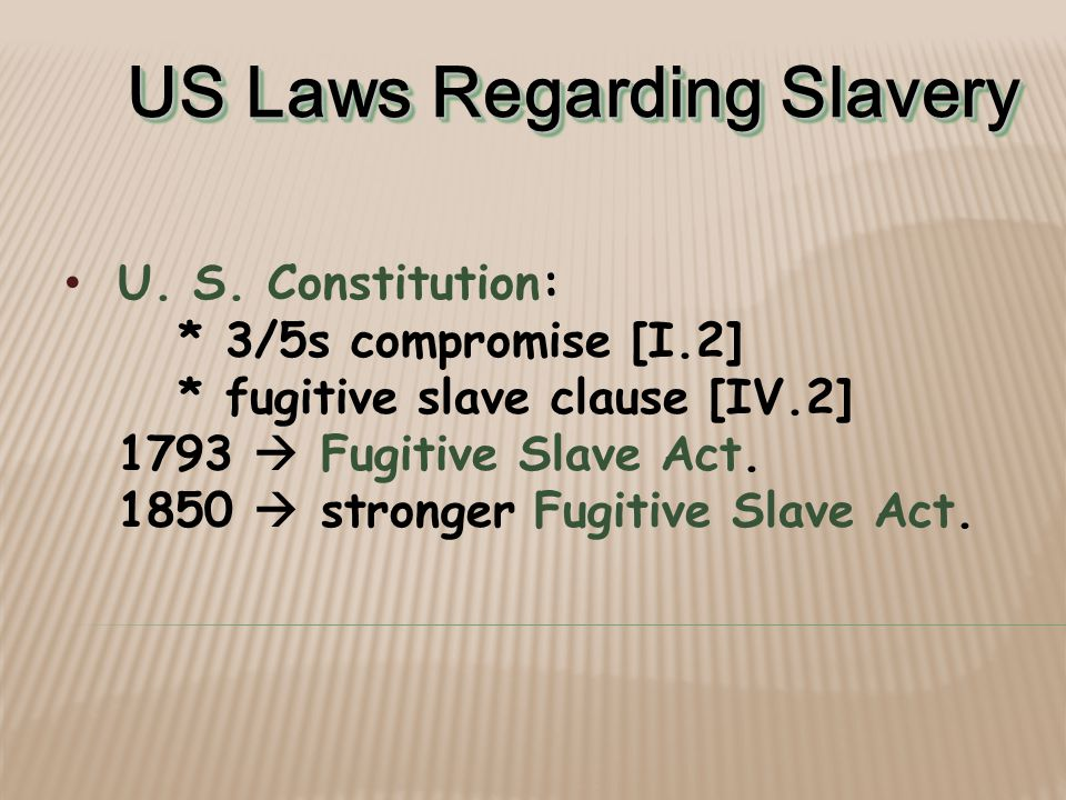 US Laws Regarding Slavery U.S.