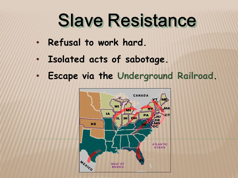 Slave Resistance Refusal to work hard.Isolated acts of sabotage.