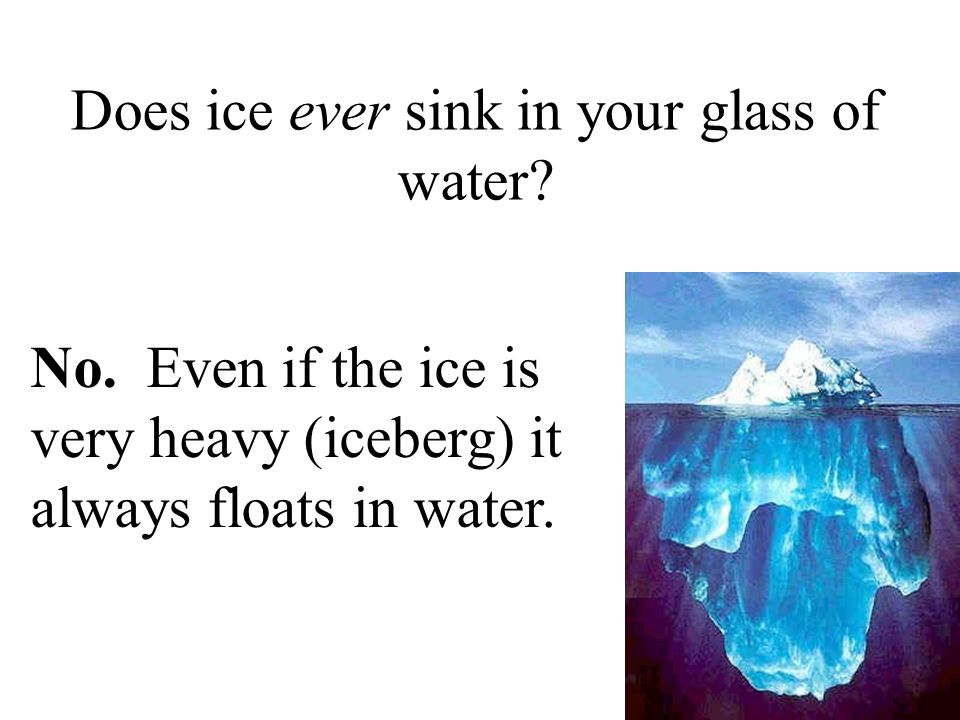 Does ice ever sink in your glass of water