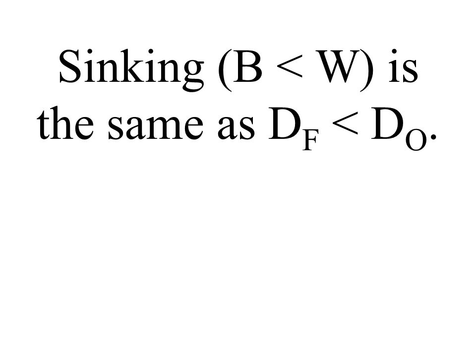 Sinking (B < W) is the same as D F D O.