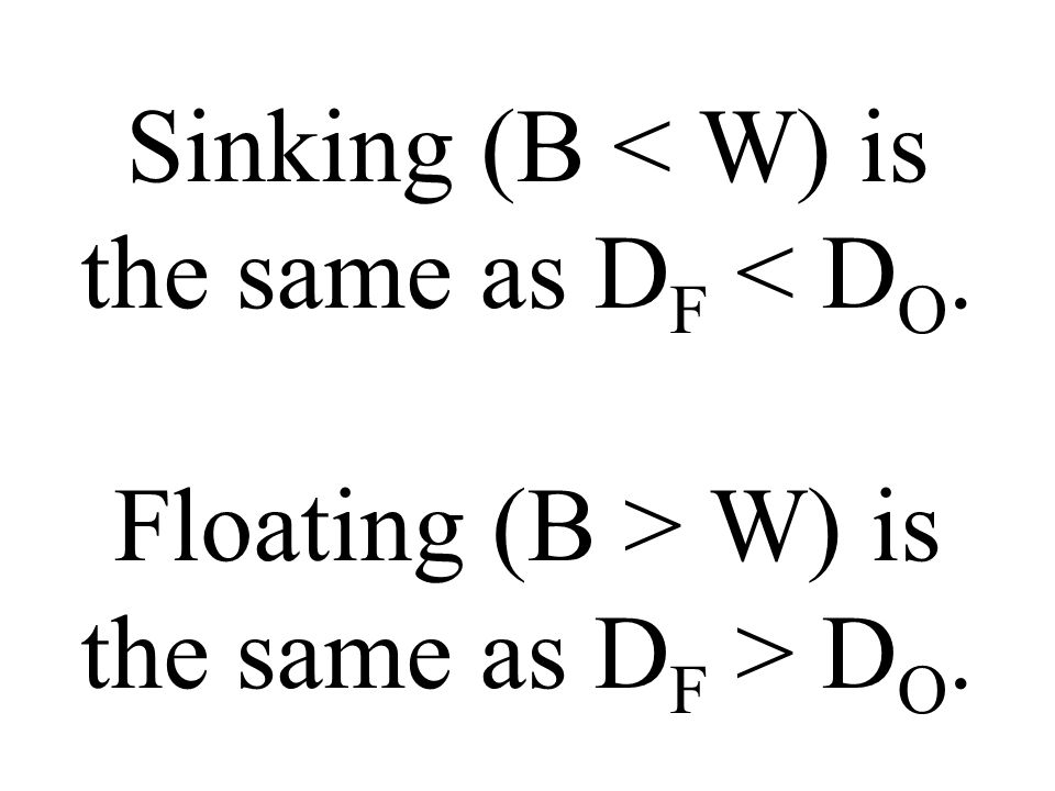 Sinking (B W) is the same as D F D O.