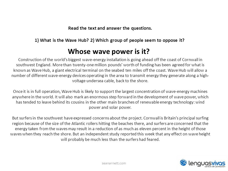Read the text and answer the questions.1) What is the Wave Hub.