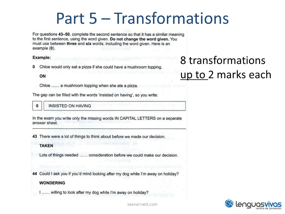 Part 5 – Transformations seanarnett.com 8 transformations up to 2 marks each