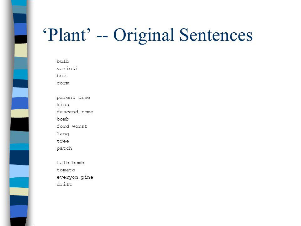 plant vp->vb-advp-pp bulb plant vp->vb-np you varieti plant vp->vb-prt box plant vp->vbd-np-pp-pp we corm plant vp->vbd-pp-sbar i plant vp->vbn-np-pp-sbar parent tree plant vp->nn-np he kiss plant vp->vbn-np descend rome plant vp->vbd-np-pp we bomb plant vp->vb-np-pp ford worst plant vp->advp-vbn lang plant vp->vbd-np he tree plant vp->advp-vbn-pp patch plant vp->vbd-np thei it plant vp->vbd-np-pp-pp-pp talb bomb plant vp->vb-np-pp-pp you tomato plant vp->vbd-np-pp everyon pine plant vp->vbd-np he drift plant vp->vbd he plant vp->vbd-np-pp-sbar he them bulb varieti box corm parent tree kiss descend rome bomb ford worst lang tree patch talb bomb tomato everyon pine drift 'Plant' -- Original Sentences