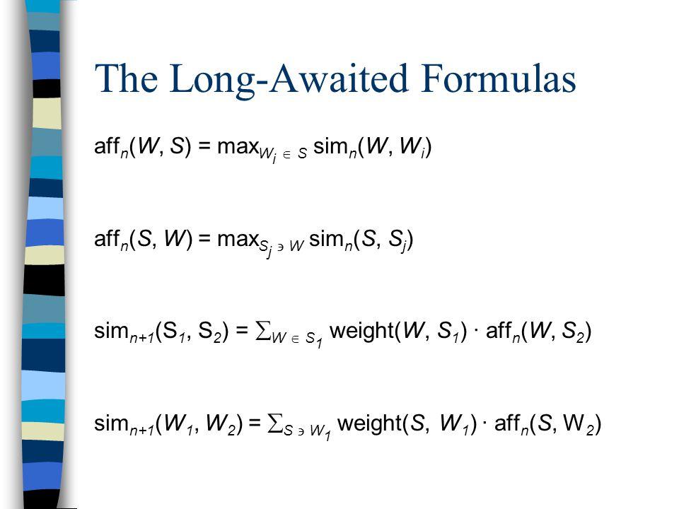 The Long-Awaited Formulas aff n (W, S) = max W i  S sim n (W, W i ) aff n (S, W) = max S j  W sim n (S, S j ) sim n+1 (S 1, S 2 ) =  W  S 1 weight(W, S 1 ) · aff n (W, S 2 ) sim n+1 (W 1, W 2 ) =  S  W 1 weight(S, W 1 ) · aff n (S, W 2 )