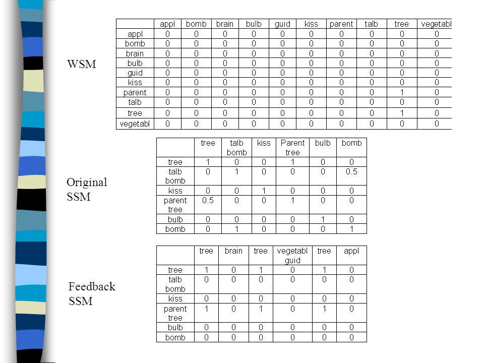 WSM Original SSM Feedback SSM