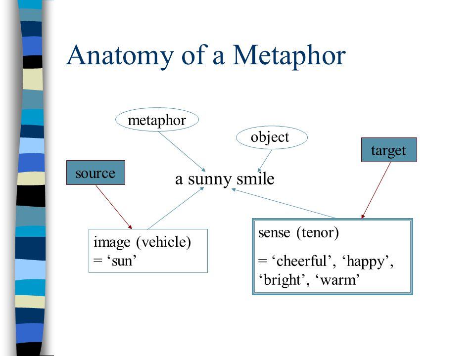 Anatomy of a Metaphor a sunny smile metaphor object image (vehicle) = 'sun' sense (tenor) = 'cheerful', 'happy', 'bright', 'warm' sourcetarget