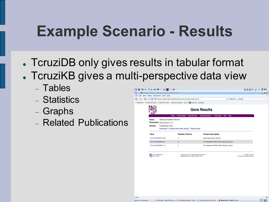 Example Scenario - Results TcruziDB only gives results in tabular format TcruziKB gives a multi-perspective data view  Tables  Statistics  Graphs  Related Publications
