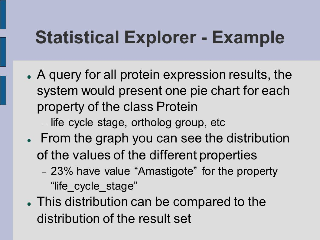 Statistical Explorer - Example A query for all protein expression results, the system would present one pie chart for each property of the class Protein  life cycle stage, ortholog group, etc From the graph you can see the distribution of the values of the different properties  23% have value Amastigote for the property life_cycle_stage This distribution can be compared to the distribution of the result set