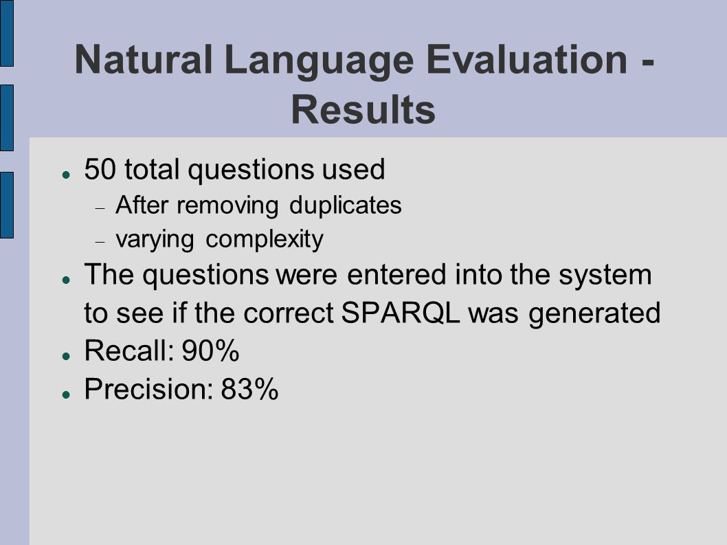 Natural Language Evaluation - Results 50 total questions used  After removing duplicates  varying complexity The questions were entered into the system to see if the correct SPARQL was generated Recall: 90% Precision: 83%