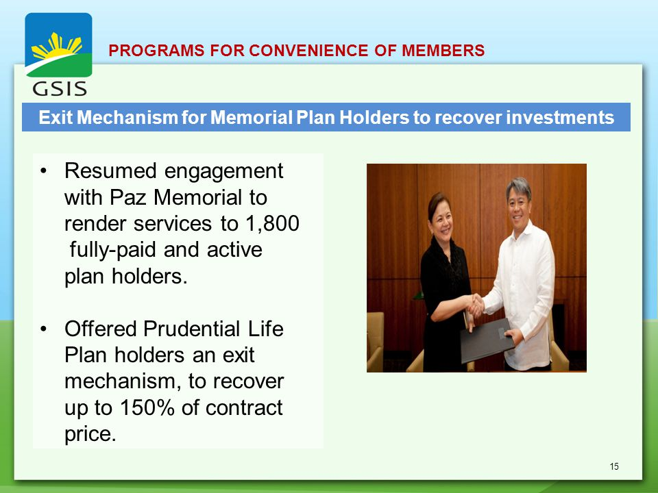 Resumed engagement with Paz Memorial to render services to 1,800 fully-paid and active plan holders.