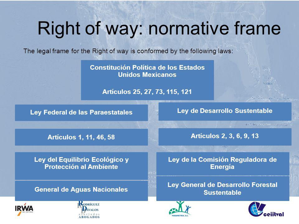Right of way: normative frame The legal frame for the Right of way is conformed by the following laws: Constitución Política de los Estados Unidos Mex