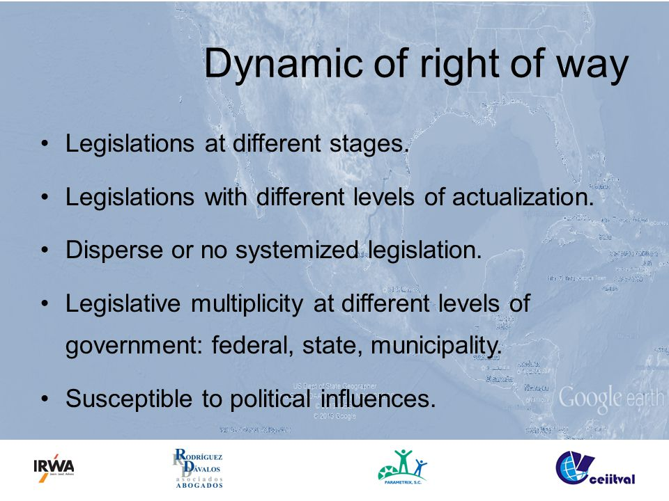 Legislations at different stages. Legislations with different levels of actualization.