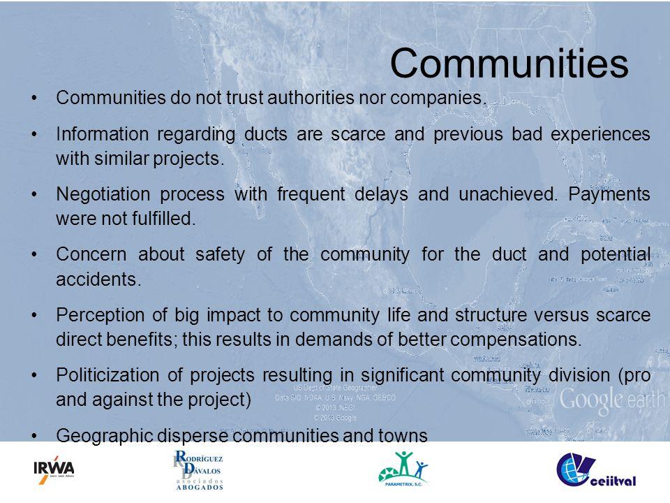 Communities Communities do not trust authorities nor companies.