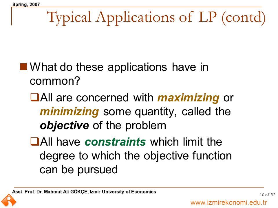 www.izmirekonomi.edu.tr Asst. Prof. Dr. Mahmut Ali GÖKÇE, Izmir University of Economics Spring, 2007 10 of 52 What do these applications have in commo