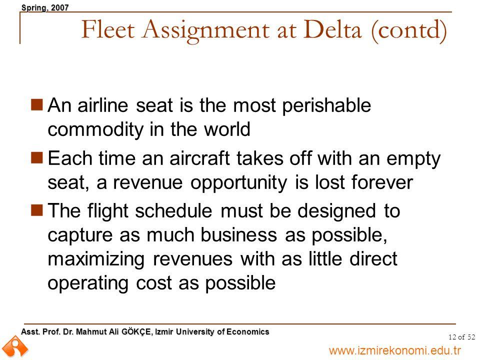 www.izmirekonomi.edu.tr Asst. Prof. Dr. Mahmut Ali GÖKÇE, Izmir University of Economics Spring, 2007 12 of 52 An airline seat is the most perishable c