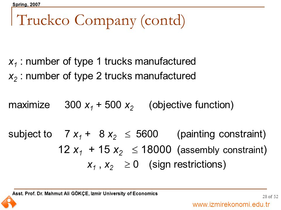 www.izmirekonomi.edu.tr Asst. Prof. Dr. Mahmut Ali GÖKÇE, Izmir University of Economics Spring, 2007 28 of 52 x 1 : number of type 1 trucks manufactur
