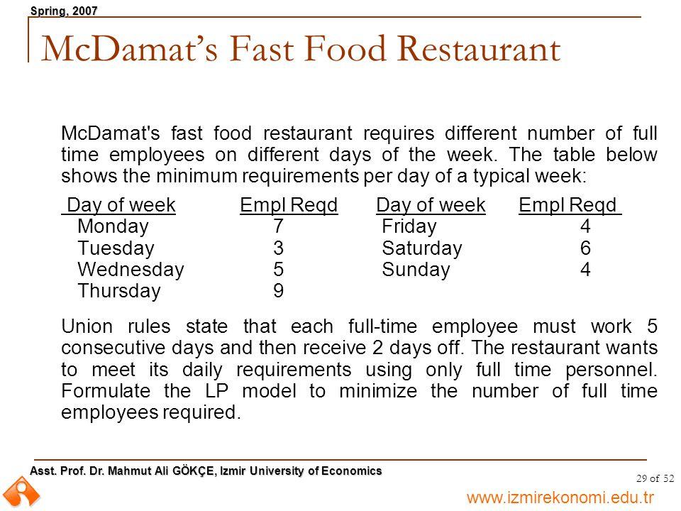www.izmirekonomi.edu.tr Asst. Prof. Dr. Mahmut Ali GÖKÇE, Izmir University of Economics Spring, 2007 29 of 52 McDamat's fast food restaurant requires