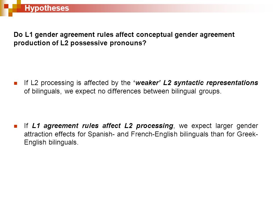 Do L1 gender agreement rules affect conceptual gender agreement production of L2 possessive pronouns.