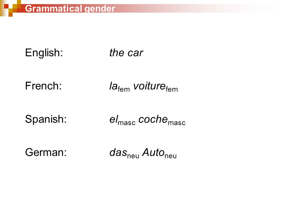 Grammatical gender English: the car French: la fem voiture fem Spanish: el masc coche masc German: das neu Auto neu