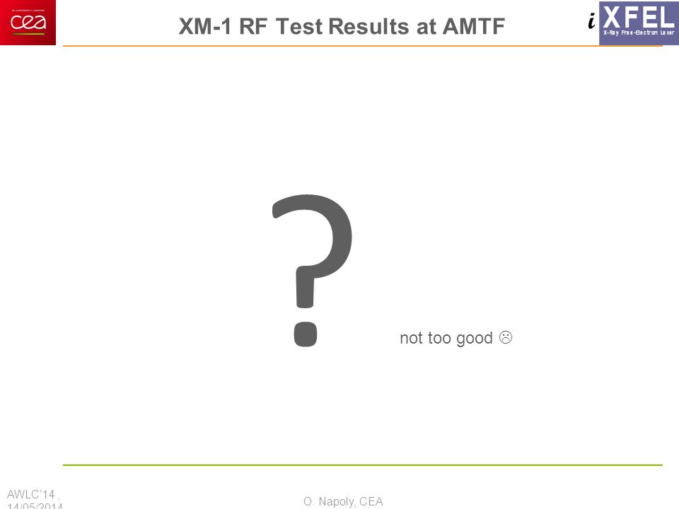 i XM-1 RF Test Results at AMTF ? AWLC'14, 14/05/2014 O. Napoly, CEA not too good 