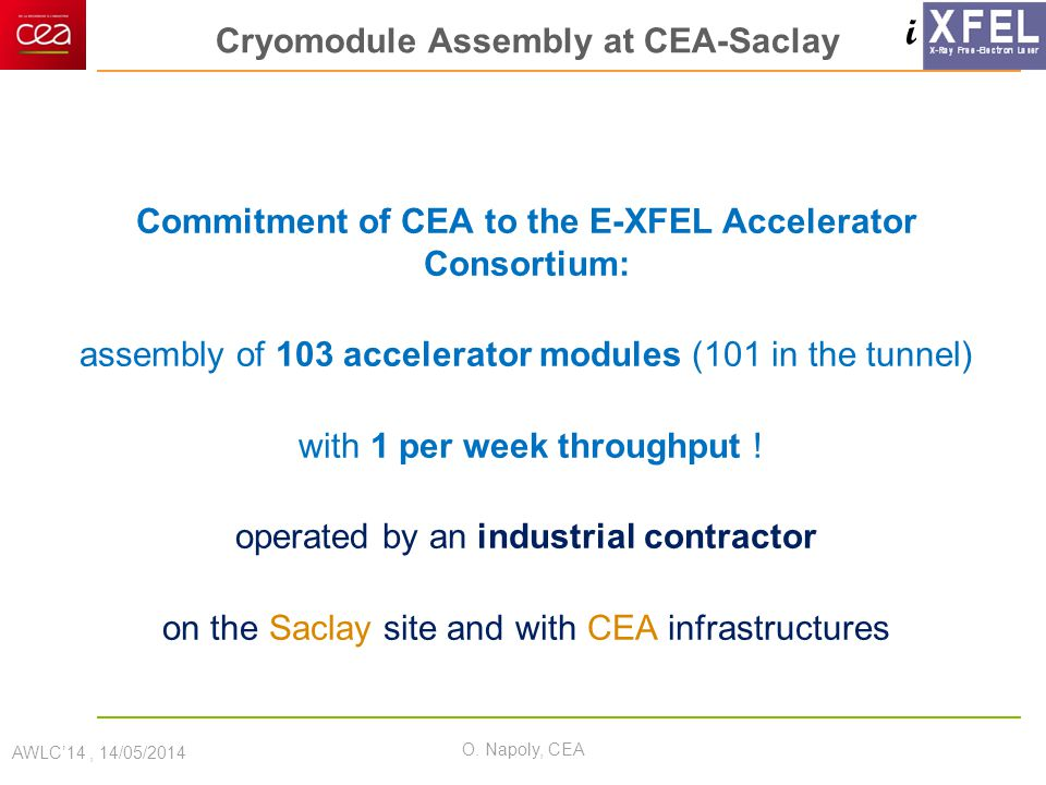i Cryomodule Assembly at CEA-Saclay Commitment of CEA to the E-XFEL Accelerator Consortium: assembly of 103 accelerator modules (101 in the tunnel) wi