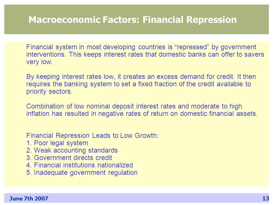 June 7th 200713 Macroeconomic Factors: Financial Repression Financial system in most developing countries is repressed by government interventions.