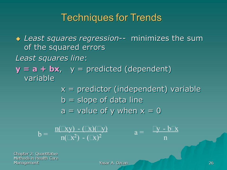 Chapter 2: Quantitatve Methods in Health Care Management Yasar A. Ozcan 26 Techniques for Trends  Least squares regression-- minimizes the sum of the