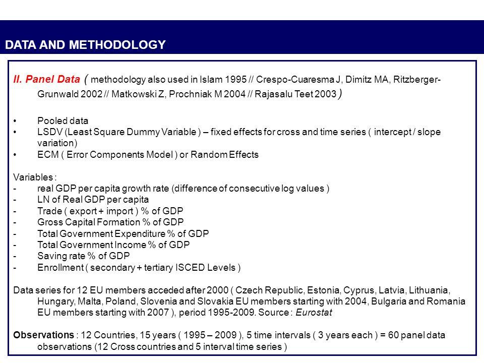 DATA AND METHODOLOGY II. Panel Data ( methodology also used in Islam 1995 // Crespo-Cuaresma J, Dimitz MA, Ritzberger- Grunwald 2002 // Matkowski Z, P