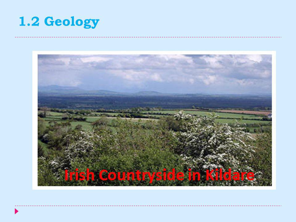 1.2 Geology  Geologically the island consists of a number of provinces – in the far west around Galway and Donegal is a medium to high grade metamorp