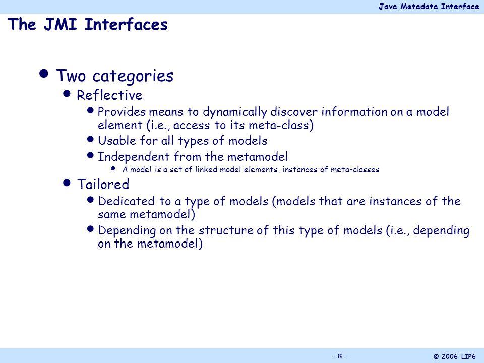 Java Metadata Interface © 2006 LIP6 - 9 - The Reflective Interfaces