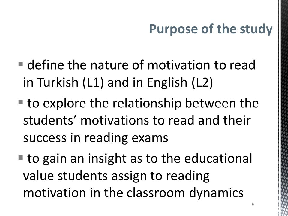  Questionnaire Population and Setting preparatory school of a private university in Ankara, Turkey pre-intermediate (N = 172) upper-intermediate (N = 101)  Student interviewees students from the lower and upper third groups depending on percentile scores (N = 8) Methodology 10