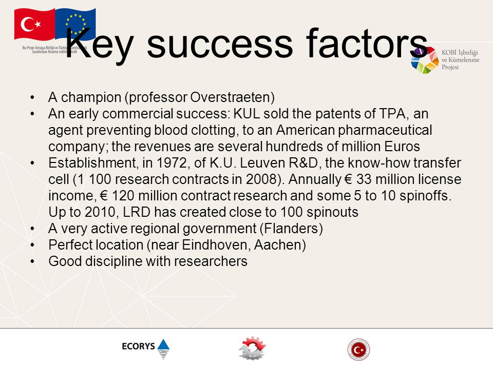 Key success factors A champion (professor Overstraeten) An early commercial success: KUL sold the patents of TPA, an agent preventing blood clotting,
