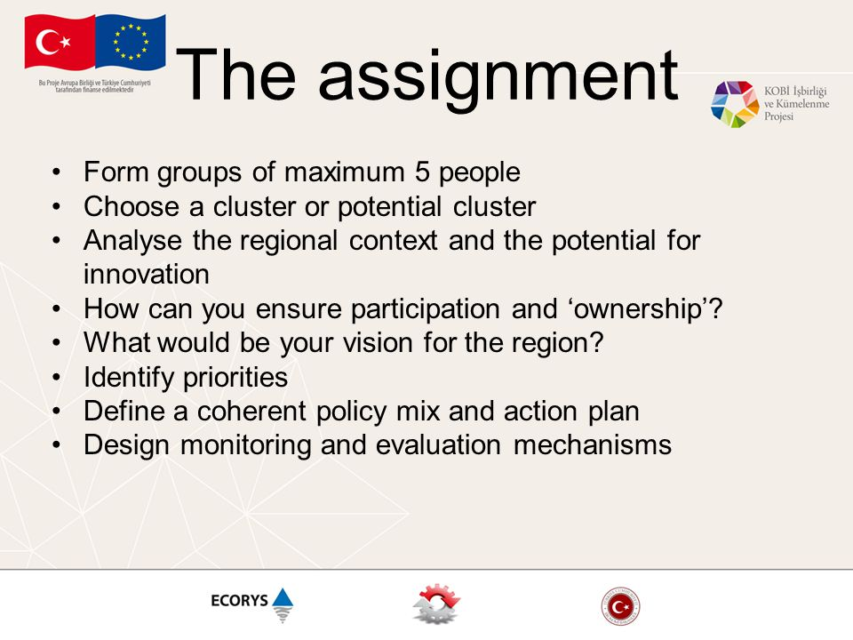 The assignment Form groups of maximum 5 people Choose a cluster or potential cluster Analyse the regional context and the potential for innovation How