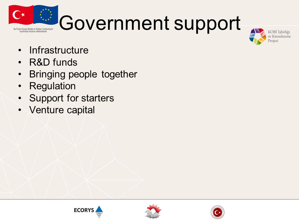 Government support Infrastructure R&D funds Bringing people together Regulation Support for starters Venture capital