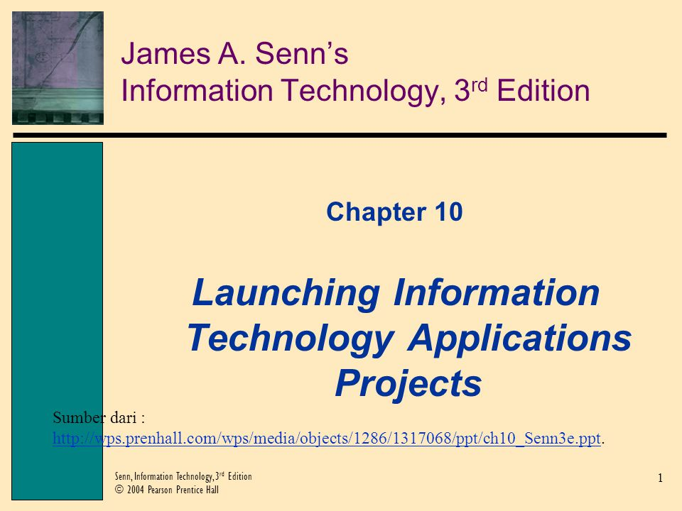 2 Senn, Information Technology, 3 rd Edition © 2004 Pearson Prentice Hall Objectives Describe the origin of IT applications in business and understand why they have become so prominent.