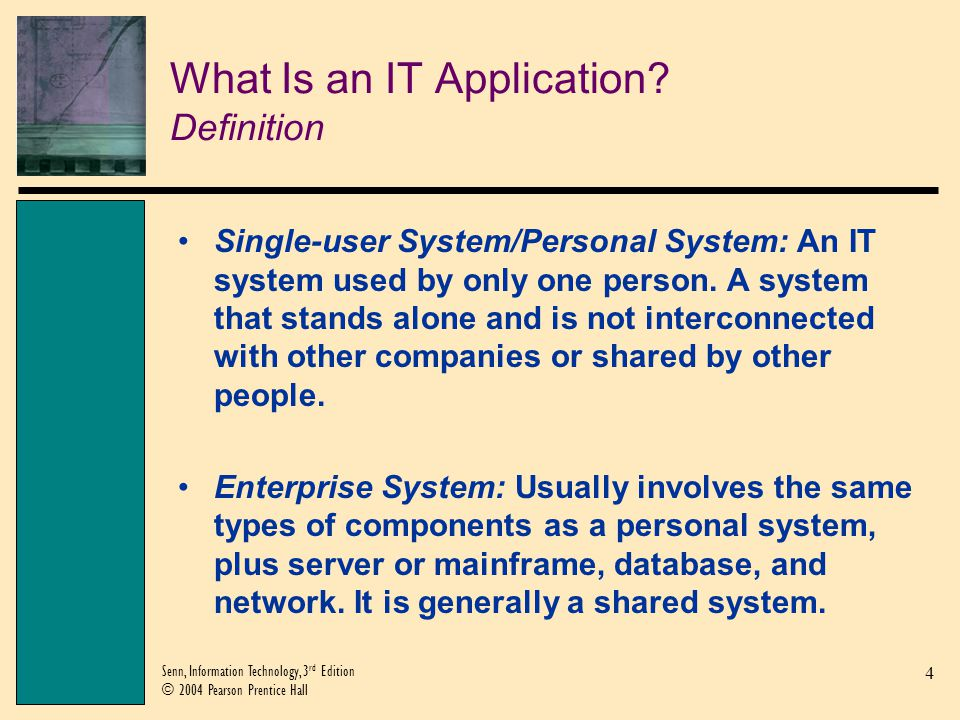 15 Senn, Information Technology, 3 rd Edition © 2004 Pearson Prentice Hall The Systems Development Life Cycle Definition Systems Development Life Cycle (SDLC): The six-phased set of activities that brings about a new IT application.