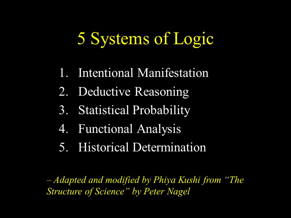 5 Systems of Logic 1.Intentional Manifestation 2.Deductive Reasoning 3.Statistical Probability 4.Functional Analysis 5.Historical Determination – Adapted and modified by Phiya Kushi from The Structure of Science by Peter Nagel