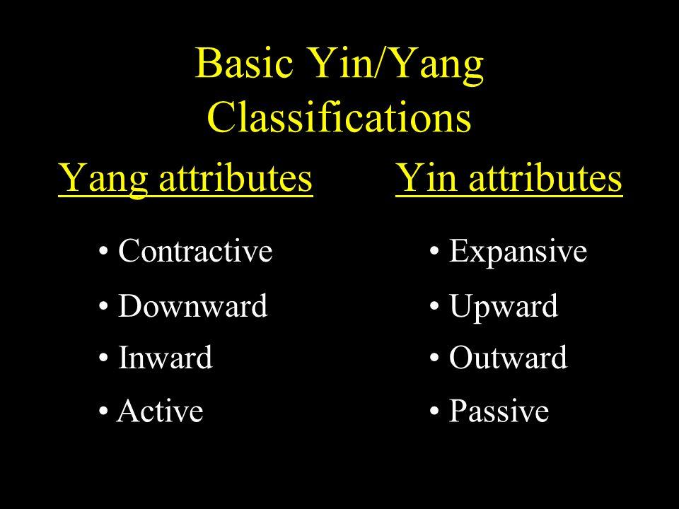 Basic Yin/Yang Classifications Yang attributes Yin attributes Active Passive Inward Outward Downward Upward Contractive Expansive