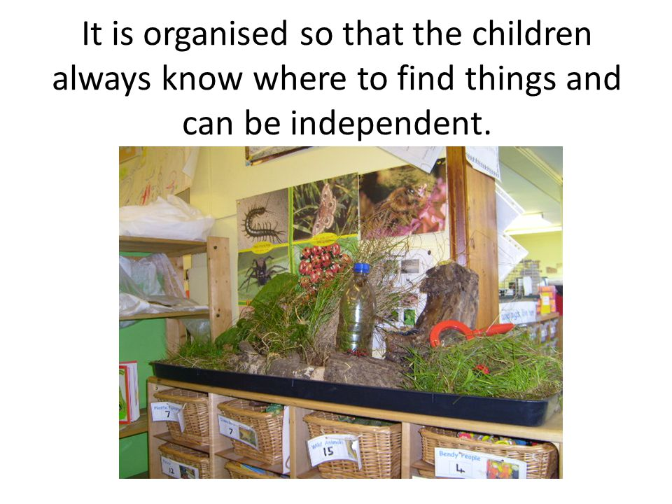 It is organised so that the children always know where to find things and can be independent.
