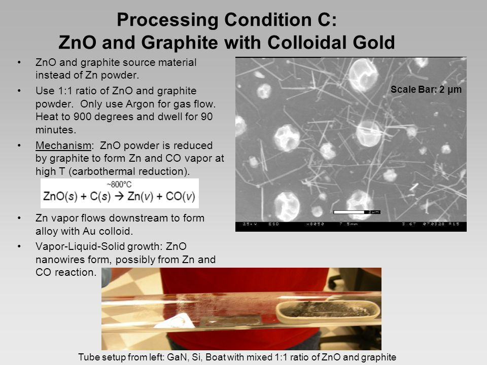Processing Condition C: ZnO and Graphite with Colloidal Gold ZnO and graphite source material instead of Zn powder.