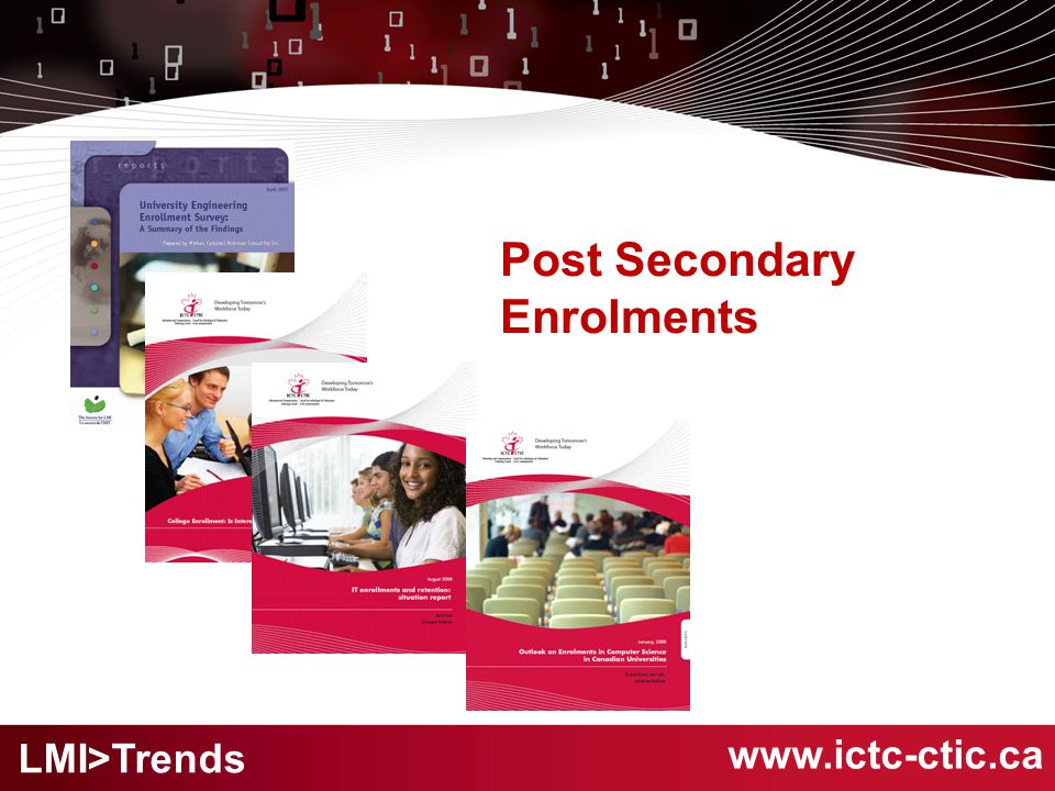 Post Secondary Enrolments www.ictc-ctic.ca LMI>Trends