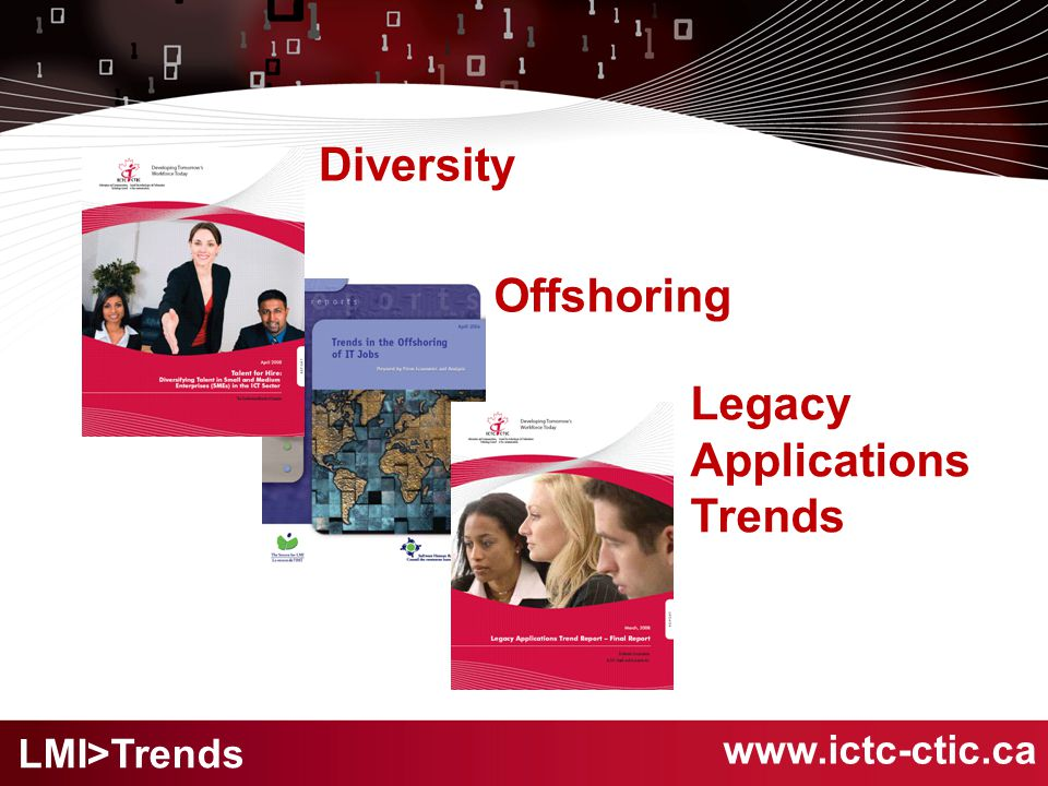 www.ictc-ctic.ca Offshoring Legacy Applications Trends Diversity LMI>Trends