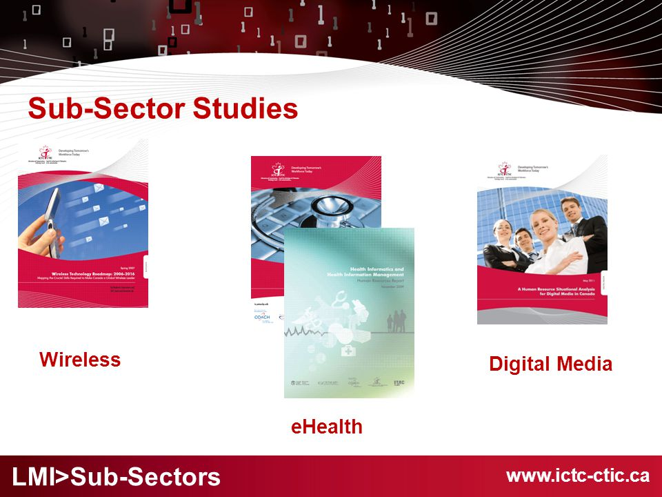 www.ictc-ctic.ca Sub-Sector Studies eHealth Wireless LMI>Sub-Sectors Digital Media