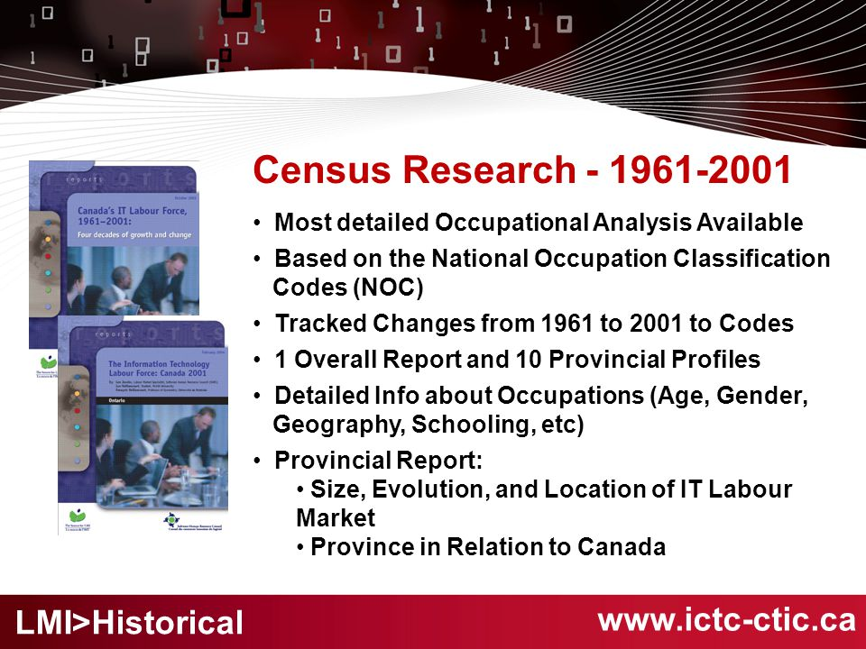 Census Research - 1961-2001 Most detailed Occupational Analysis Available Based on the National Occupation Classification Codes (NOC) Tracked Changes from 1961 to 2001 to Codes 1 Overall Report and 10 Provincial Profiles Detailed Info about Occupations (Age, Gender, Geography, Schooling, etc) Provincial Report: Size, Evolution, and Location of IT Labour Market Province in Relation to Canada www.ictc-ctic.ca LMI>Historical